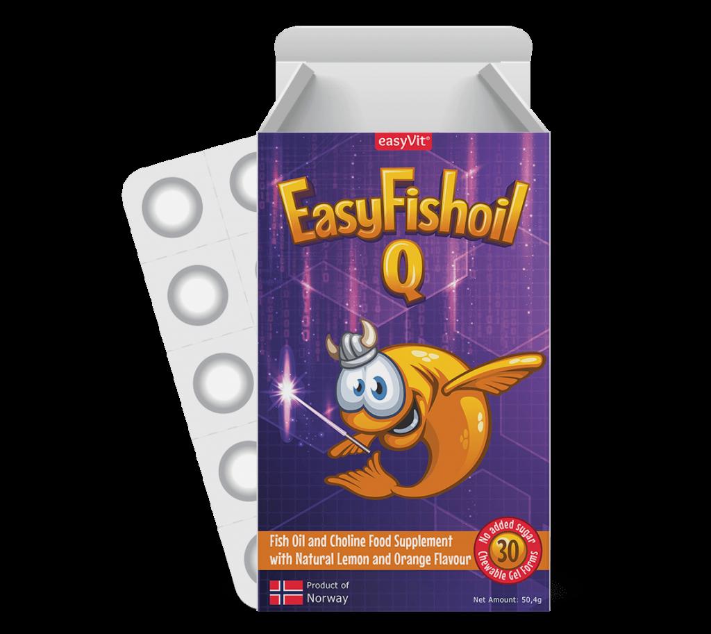 EasyFishoil Q         Visolie + Choline, Vitamines B6 and B12, Foliumzuur Voor Kinderen